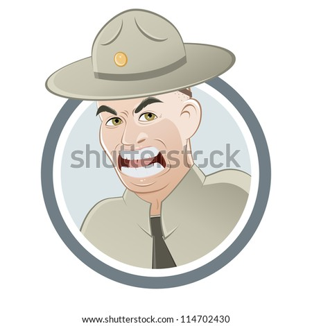 angry drill instructor - stock vector