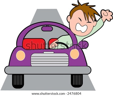 Angry Driver - stock vector