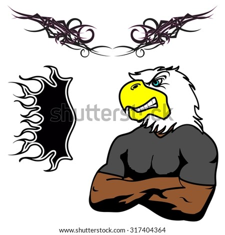 angry eagle muscle cartoon set in vector fromat very easy to edit - stock vector