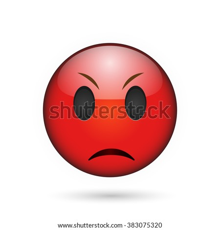 Angry emoticon. Isolated vector illustration on white background - stock vector