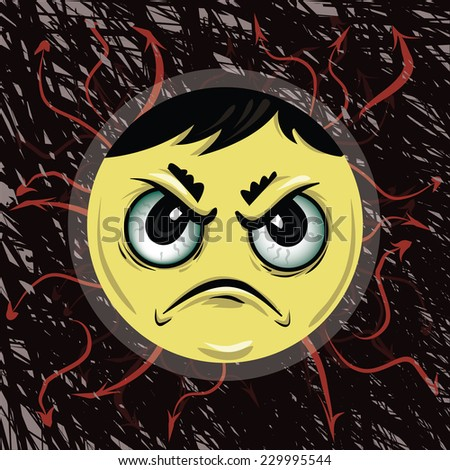 Angry face background - stock vector