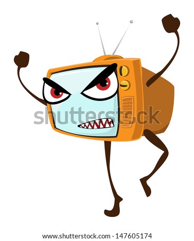 Angry face on retro TV set, orange cover and tiny antenna, vector illustration - stock vector