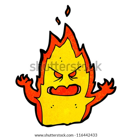angry fire cartoon character