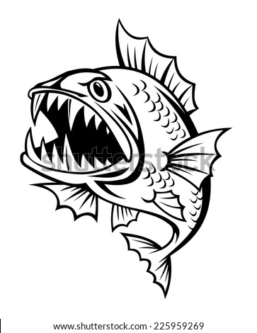 Angry Fish Cartoon Style Isolated On Stock Vector