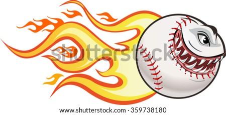Angry flaming screaming baseball. Vector drawing - stock vector