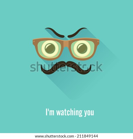 Angry  gentleman.Eyes, glasses and mustaches. Vector Illustration - stock vector