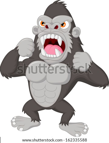 Angry gorilla cartoon - stock vector