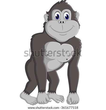 Angry gorilla cartoon - stock vector