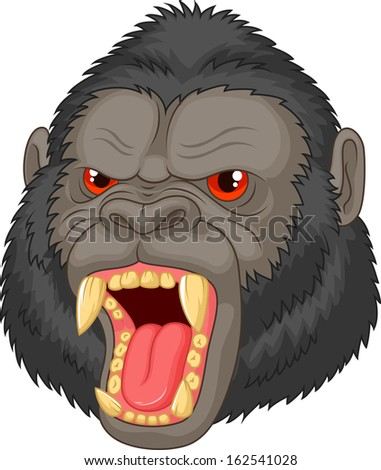 Angry gorilla head character - stock vector