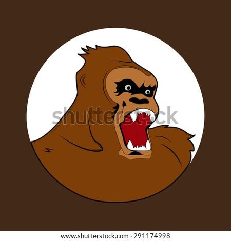 Angry gorilla head. Vector illustration. EPS 10. - stock vector