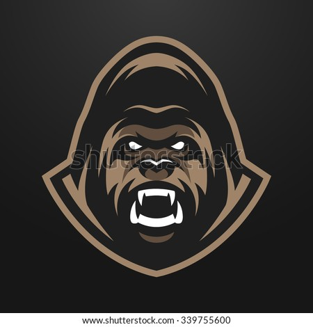 Angry Gorilla mascot, symbol on a dark background. - stock vector