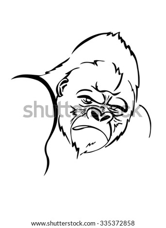 angry gorilla head drawing - photo #25