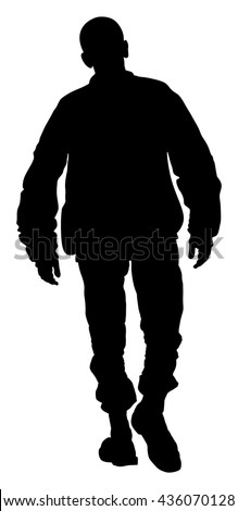 Angry hooligan walking the street vector silhouette illustration. - stock vector