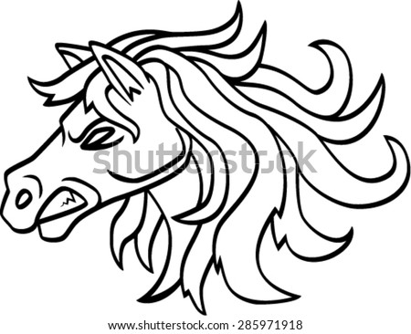 angry horse head , vector illustration
