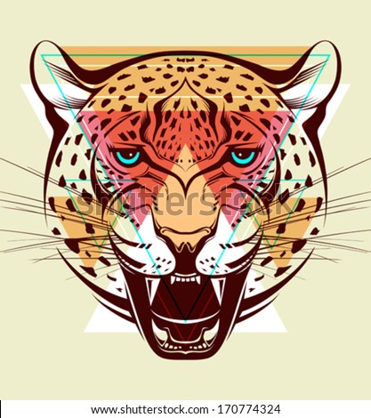 Angry leopard. Fashion illustration  - stock vector