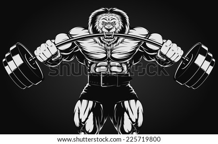 Angry lion - stock vector
