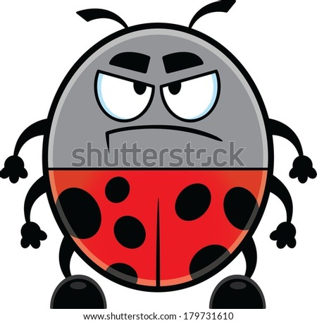 Angry looking cartoon ladybug with a big frown.  - stock vector