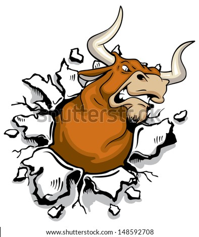 Angry mad bull bursting through wall - stock vector