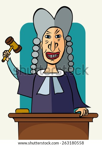 Angry male judge with gavel for law concept design in cartoon style. Vector illustration - stock vector