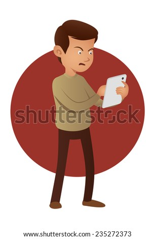Angry man using tablet device