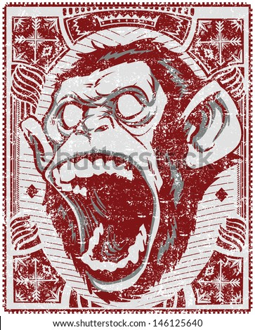 Angry monkey / Also available in separate layer the original vector without scratch - stock vector