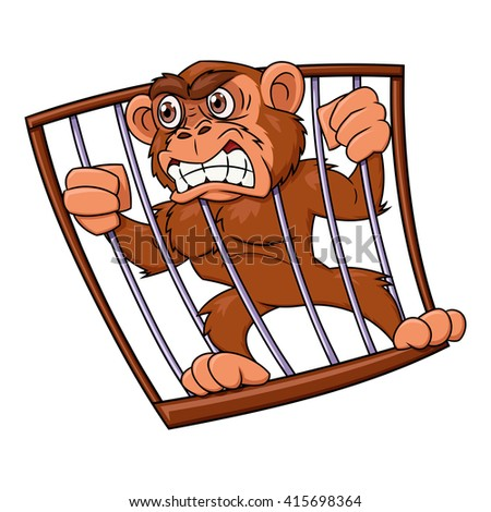 Angry monkey in cage - stock vector