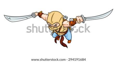 Angry Ninja Character - stock vector