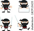 Angry Ninja Warrior  Cartoon Characters 1.Flat Design. Vector Collection Set - stock vector