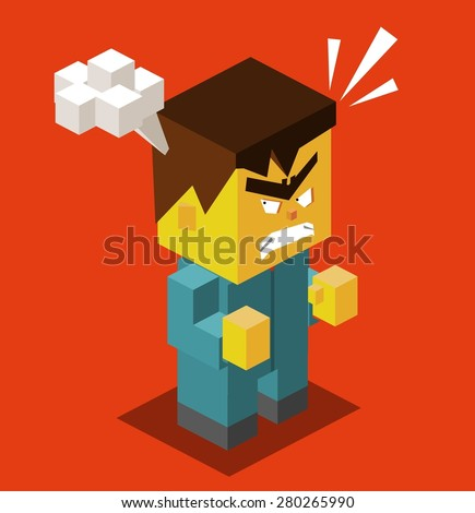 Angry people with red face. vector illustration - stock vector