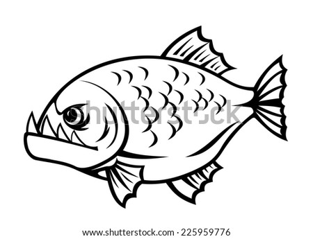 Angry piranha fish in cartoon style isolated on white background