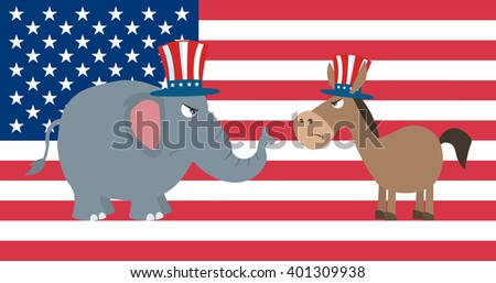 Angry Political Elephant Republican Vs Donkey Democrat Over USA Flag. Vector Illustration Flat Design Style