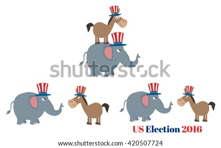 Angry Political Elephant Republican Vs Donkey Democrat. Set Vector Collection Isolated On White - stock vector