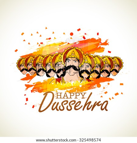 Angry Ravana with his ten heads for Indian festival, Happy Dussehra celebration. - stock vector
