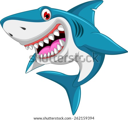 angry shark cartoon  - stock vector