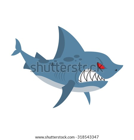 Angry shark. Marine predator with large teeth. Deep-water denizen. Vector illustration  shark on white background