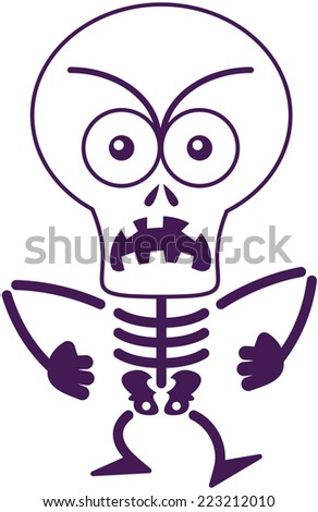 Angry skeleton with big head, bulging eyes and missing teeth while frowning, staring at you, yelling and clenching its fists in a very irritated mood - stock vector