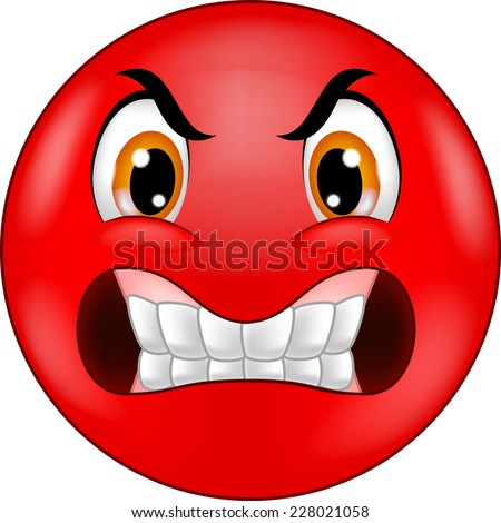 Angry smiley emoticon - stock vector