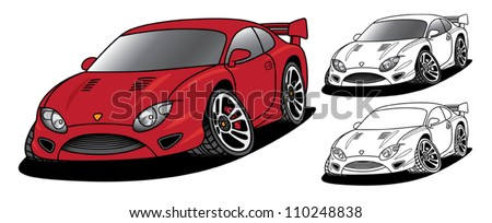 Angry Sports Car with Black & White Options - stock vector