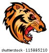 Angry Tiger Face Mascot Vector Tattoo - stock vector
