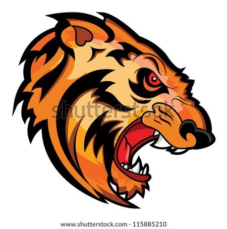 Angry Tiger Face Mascot Vector Tattoo - stock vector
