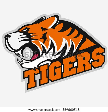 Angry Tiger Sport team emblem, wild big cat head. Aggressive cat with bared teeth in cartoon style, t-shirt print design