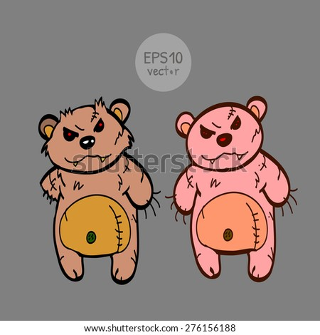 Angry toy bears. In color. - stock vector