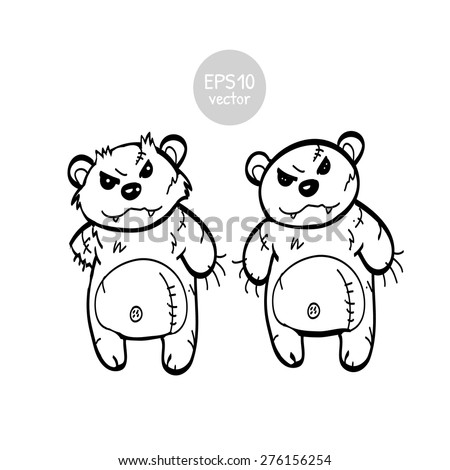 Angry toy bears no color - stock vector