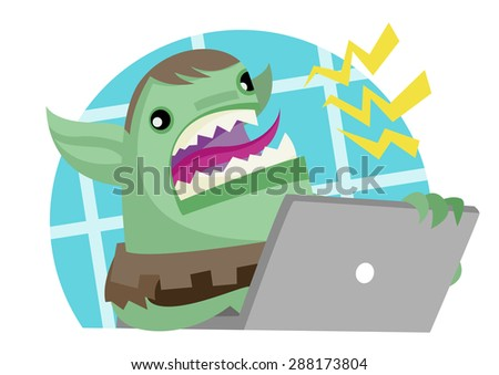 angry troll with a computer - stock vector