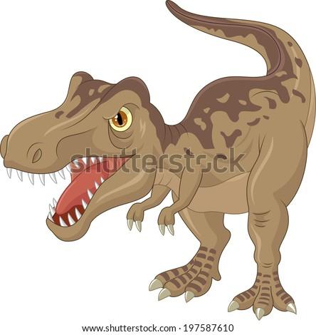 Angry tyrannosaurus cartoon - stock vector