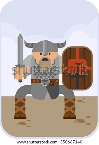 Angry Viking sword with a sharp attack expected. Objects isolated on a white background. Flat vector illustration. - stock vector