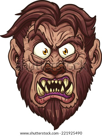 Angry werewolf face. Vector clip art illustration with simple gradients. All in a single layer. - stock vector