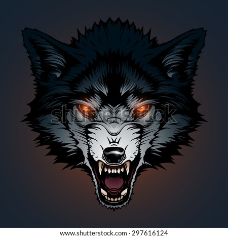 Angry wolf head - stock vector