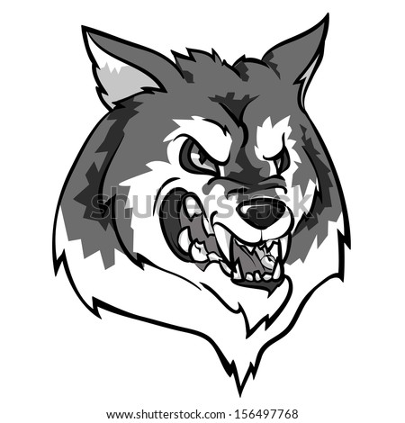 Angry Wolf mascot. Monochrome version - stock vector