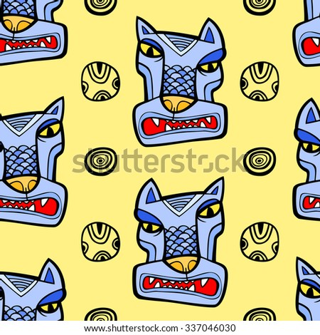Angry wolf seamless pattern - stock vector